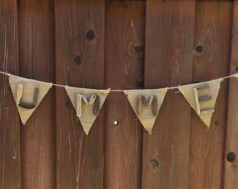 Driftwood Garland | Burlap Garland Pendant | Summer Garland Banner | Northern California Drift wood