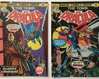 The Tomb of Dracula #s 34 and 36 - Brother VooDoo Appearance - Bronze Age 1975 VF- Marvel Comic Books