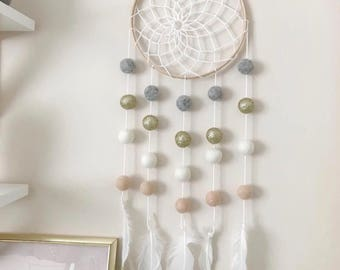 Stone and Co  Felt Ball and Feather Dream Catcher