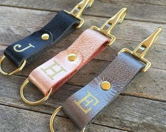 Realtor Closing Gifts, Personalized Keychain Leather, Monogrammed Keychain, Metallic Leather Key Fob, Custom Key Chain, Leather Keyring
