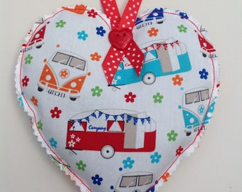 campervan decoration, vw campervan, campervan gift, fabric heart, hanging heart,lavender filled heart, lavender sachet, lavender bag, hearts
