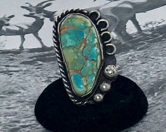 Turquoise and Sterling Silver Large Native American Ring