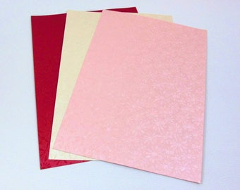 """Paper textured """"flowers"""" for scrapbooking - shades of pink, white red and off"""