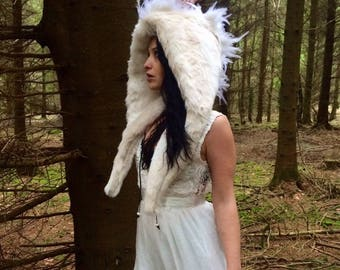 Mohawk angel hood/ fake fur hood/ angel, white dove, burning man hood/ warrior hoood/ faux fur/ burning man/ mohawk/ scoodie/ wrap hood/ fau