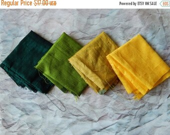 5% off Fat Quarter Bundle of Silk Fabric, Dupioni Silk Fabric, Pure Silk Fabric, Ethnic Fabric- 4 pcs