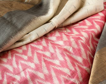 Half yard of Sari Fabric, Woven Ikat Silk Fabric, Cotton Silk Fabric, Ethnic Fabric, Off-White and Pink Sari Fabric, Silk Blend Fabric