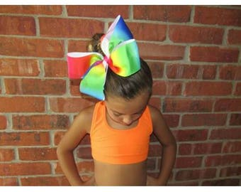 Super big Rainbow Bow made with 3 inch wide ribbon and ponytail holder
