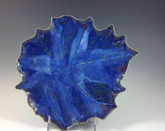 Ceramic  Leaf Platter,  Leaf Bowl, Blue Handmade Bowl, Decorative and Functional, Serving Platter, Botanical Tray, Pottery and Ceramics