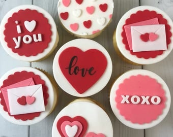Valentine's Day Cupcake Toppers - Edible Fondant - Set of 12