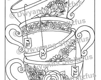 Stacked Teacups Coloring Page JPG
