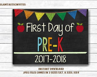 First Day of School Sign, First day of Pre-K Sign, School Chalkboard Sign, INSTANT Download, Printable, Photo Prop, First Day Sign, Pre-K