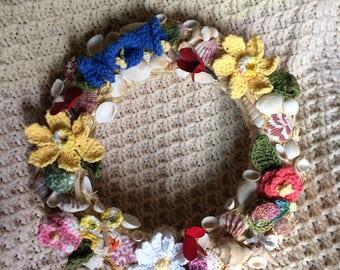 Seashells and Flowers Wreath