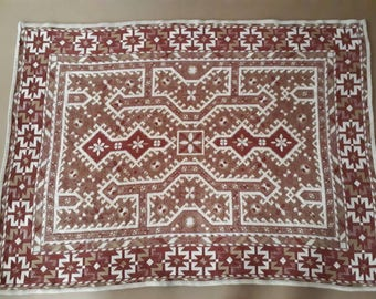 Beautiful Hand Knotted Plaid Blanket Quilt Tapestry