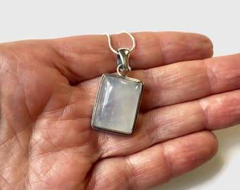 Vintage Pendant, Large Sterling Silver Rainbow Moonstone Gemstone Pendant Necklace, 925 Pendant
