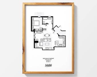 Blueprint etsy seinfeld apartment floor plan print seinfeld art seinfeld poster wall art malvernweather Image collections
