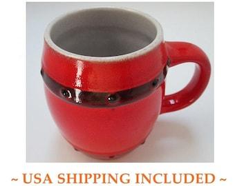 Barrel Beer Mug West German Pottery by Jasba Keramik