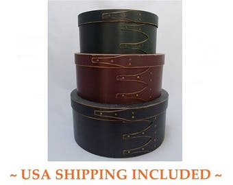 Stack of Three Nesting Painted Wooden Pantry Boxes Shaker Style