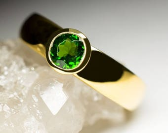 Chrome Diopside Gold Ring art 9792 | Natural Organic Green Gemstone 18k Gold Fine Jewelry