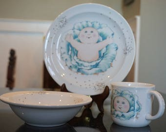 Vintage Cabbage Patch Kids Royal Worcester Child's Set/Made in England/1984 /Children's china/ Doll Collectors