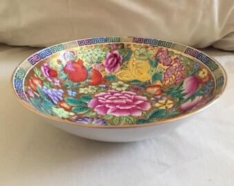 Vintage Hand Painted 24KT Gold Detailed Porcelain Floral Fruit  Asian Bowl
