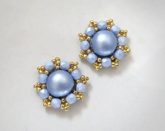 Pastel blue Clip On Earrings, pastel blue studs, blue Gold Earrings, Blue and gold earrings, Light blue earring studs, Anniversary gifts