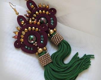Tassel Earrings Long, green Clip-On Earrings, green gold  Earrings, Tribal Earrings, Boho Soutache Earrings, Handmade Earrings