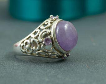 Amethyst silver ring vintage sterling and lavender agate large statement ring US size 7.5 UK size P lilac purple silver ring