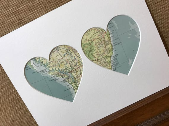 Dual Nationality Heart Mount Vintage Maps Wall Art - Two Countries Towns Cities - Vintage Atlas Pages - Custom Made To Order