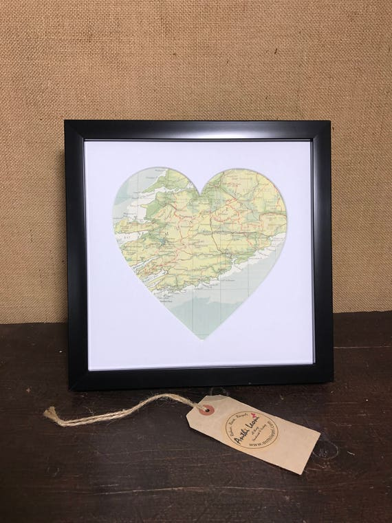 LOVE HEART MAP | Framed Heart Mount Vintage Atlas | Country Town City | Vintage Atlas Pages | Made To Order 9 x 9 inch Mapped Heart Mount