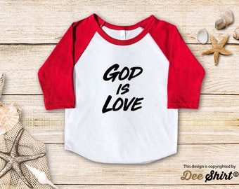 God is Love; Christian Shirt; Cute Baptism Tee; Love Jesus T-Shirt; Sunday School Kids Church Outfit, Cool Christmas Holiday Gift Idea