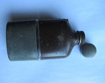 Antique hip flask & cup. 4 oz pocket flask. Glass pewter leather drink container spirit flask/whisky flask