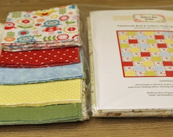 Quilt Kit: Patchwork Red & Yellow Owls