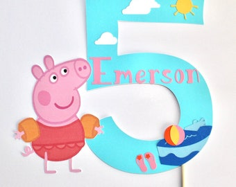 Peppa Pig Pool Party Cake Topper