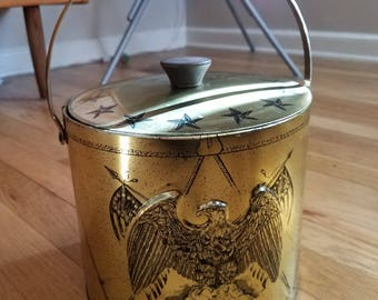 FREE SHIP Fantastic 1950s brass American eagle ice bucket Americana mcm ice colonial ice bucket vintage bar ware