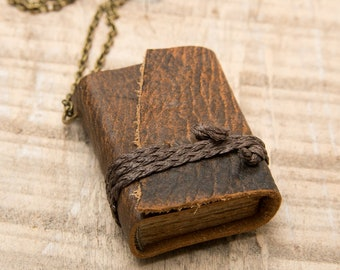 Leather Book Necklace,  Miniature Book Necklace, Book Lover Jewelry, Wearable Journal