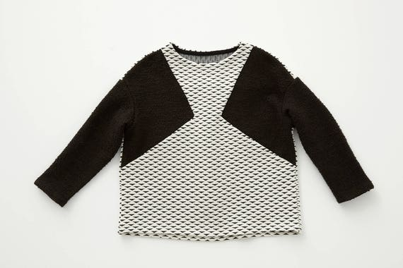 ROSE - long-sleeves flared sweater, jersey or pullover for kids: boys or girls - Ivory white with black triangles print