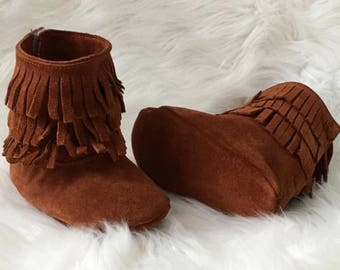 100% Suede Leather Moccasins Boots, Baby Fringe Boots, Soft Sole Leather Boots,