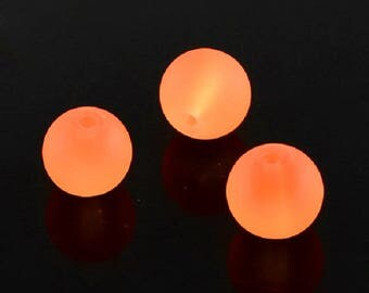"""Frosted Orange 10mm Round Glass Beads (30"""" Strand)"""