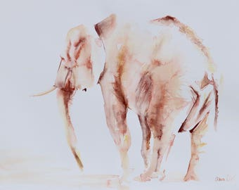 Lone Elephant QUALITY GICLEE PRINT on fine art paper. Various sizes available