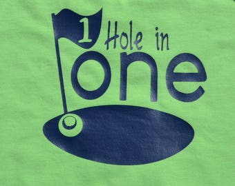 HOLE in ONE- first birthday onesie, golf, one