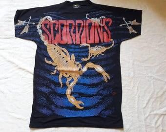 Vintage Rare 1991 Scorpions T Shirt . Vtg 90s 1990s Heavy Metal Tee Tshirt Allover Print