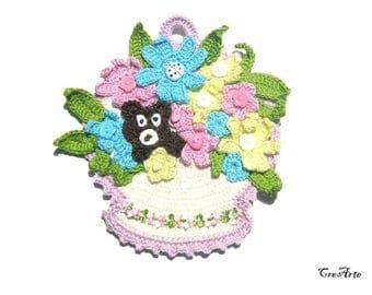 Colorful crochet flower basket potholder, Presina cestino colorato con fiori all'uncinetto