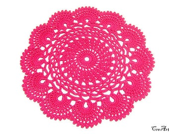 Small Hot Pink crochet doily, Centrino piccolo fucsia all'uncinetto