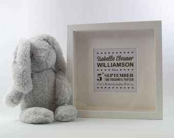 Personalised Gold Foiled 'New Baby' Framed Print