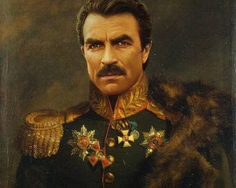 General Tom Selleck Portrait Movie Actor Poster Art 100% Hand Made Canvas Oil Painting by Reitna Kapfe
