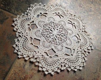 elegant natural beige color doily, handmade crochet lace home decor doily, fine thread 20