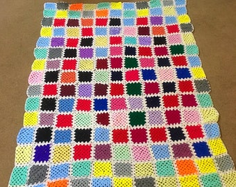 Gorgeous Elmer the elephant inspired granny blanket in a very large single size of 185 x 135cm's.