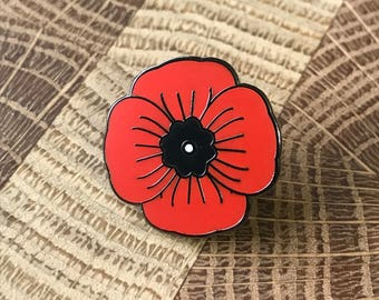 "1"" Hard enamel Memorial Poppy lapel pin, hat pin, WWI, WWII, World War, military pins, honor pins"