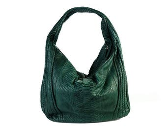 Clearance! Moss green python leather long hobo bag (defective)
