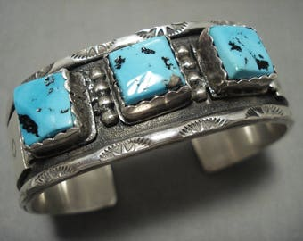 Heavy And Thick Vintage Navajo 'Squared Turquoise' Silver Bracelet Old